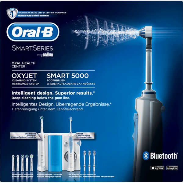 Oral-B Mundpflege Center: Oral-B Smart 5000 + OxyJet Munddusche