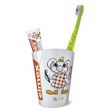 elmex® Zahnputzbecher mit Kinderzahnbürste und 12 ml Tube Kinderzahnpasta