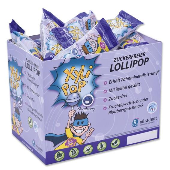 miradent XyliPOP Lolli Blaubeere 6g, 50 Stück in Box