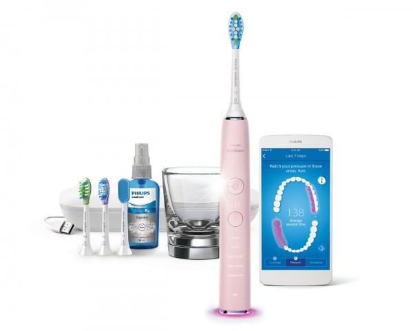 Philips® Sonicare DiamondClean Smart Pink HX9924/23 mit Zungenreiniger, 3 Bürstenköpfen u. Mund