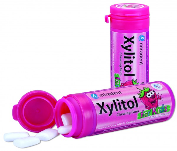 Xylitol Chewing Gum for Kids Erdbeere, Dose 30 Stück